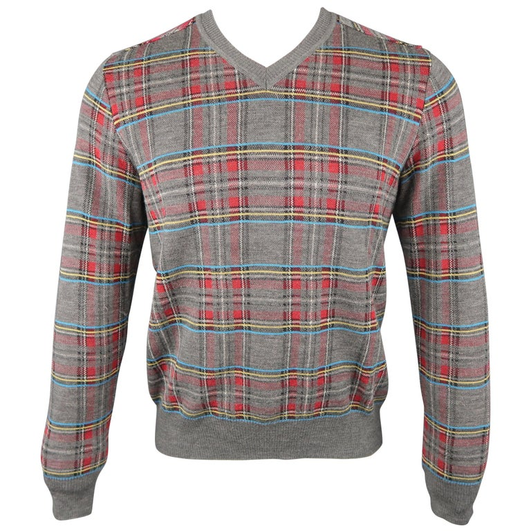 JUNYA WATANABE Size S Gray Plaid Wool Blend V Neck Elbow Pad Pullover Sweater For Sale
