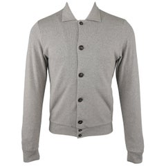 HOMECORE S Heather Gray Speckled Jersey Button Up Collared Jacket