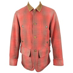 RRL by RALPH LAUREN M Washed Red & Brown Plaid Cotton Corduroy Chore Jacket