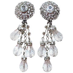 Circa 1960s William deLillo Crystal Chandelier Earrings
