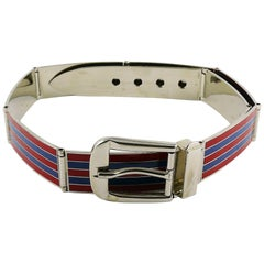 Gucci Vintage Enamel Buckle Belt