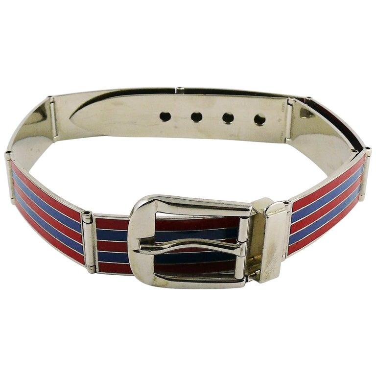 5ac82f14f Gucci Vintage Enamel Buckle Belt For Sale at 1stdibs