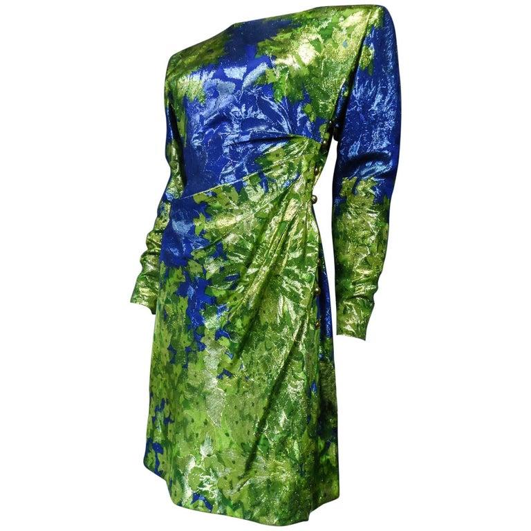 Yves Saint Laurent Lamé Evening Dress Van Gogh Collection Circa 1989 For Sale