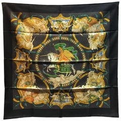 Authentic Hermes Cavaliers Des Nuages Silk Scarf In Black