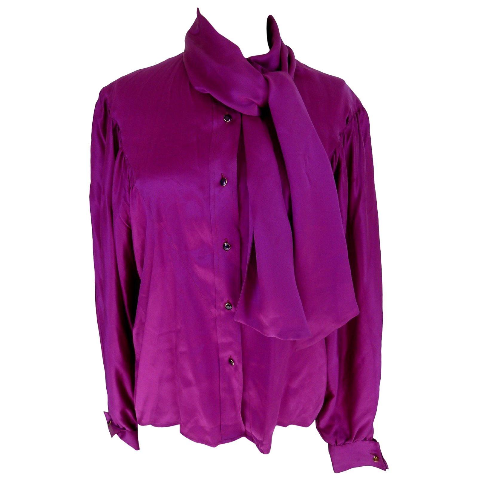 94aa64f019e7c 1980s Thierry Mugler Purple Silk Shirt at 1stdibs