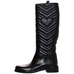 Gucci Black Matlasse Quilted Nappa Charlotte Knee High Riding Boots Sz 41