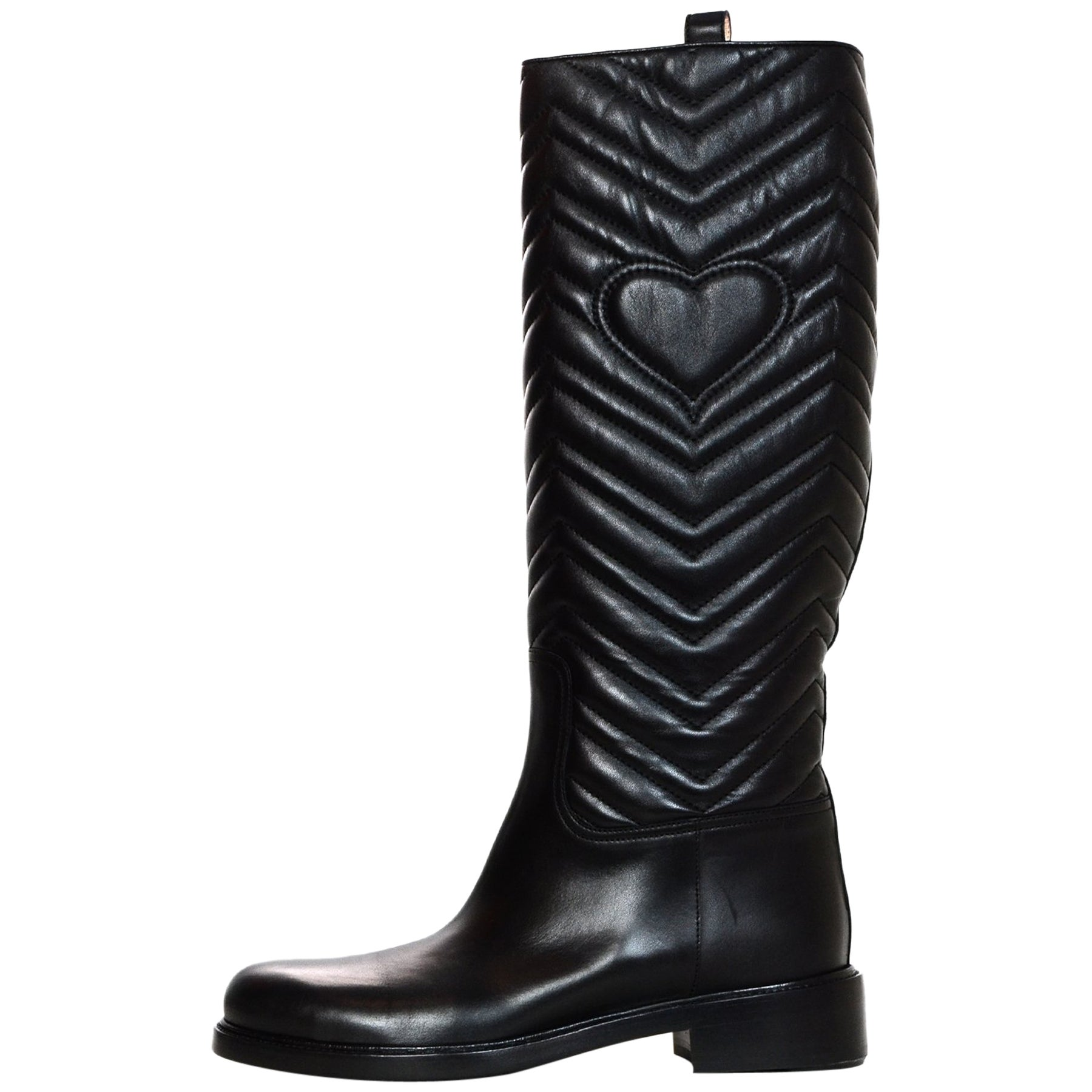 638428f4d41 Gucci Black Matlasse Quilted Nappa Charlotte Knee High Riding Boots Sz 41  For Sale at 1stdibs
