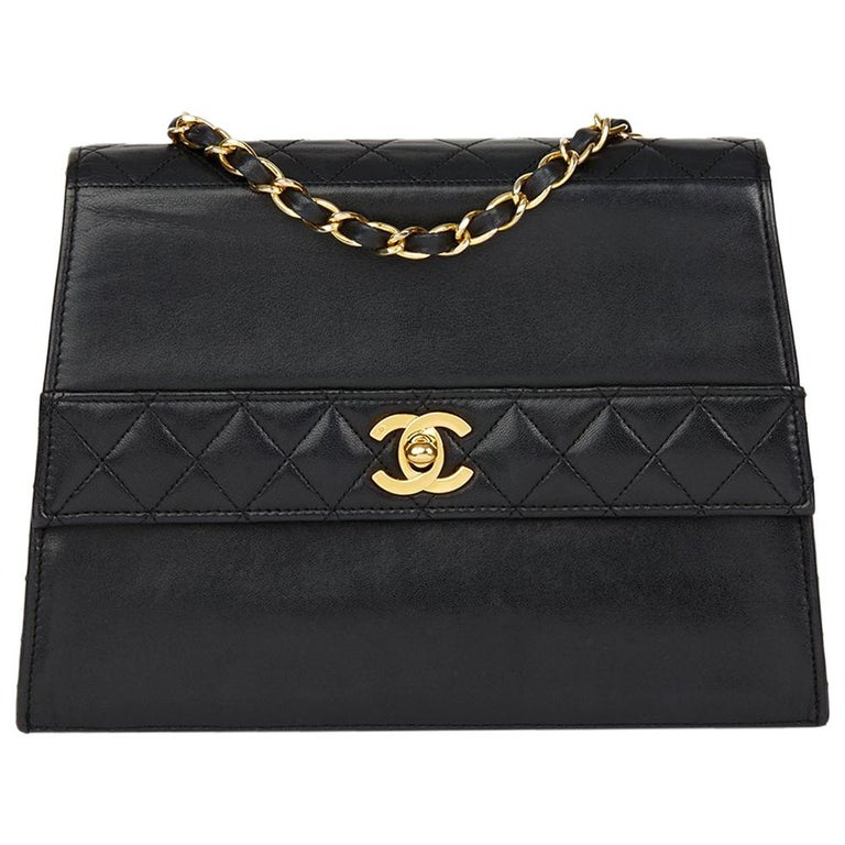 eedcf1e867f4 Chanel Black Quilted Lambskin Vintage Trapeze Classic Single Flap Bag For  Sale