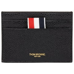 2018 Thom Browne Black Pebble Grained Calfskin Leather Stripe Cardholder