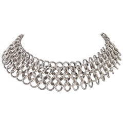 "DAVID YURMAN ""Atlas"" Sterling Silver & 18K Gold Chainmail Choker Necklace"