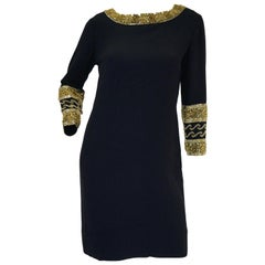 1960s Maisonette Silk Cocktail Dress w/ Gold Bead & Blue Rhinestone Detail