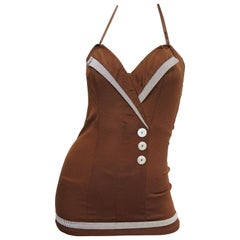 1950s Chocolate Brown Faux Wrap One Piece Sweetheart Swimsuit