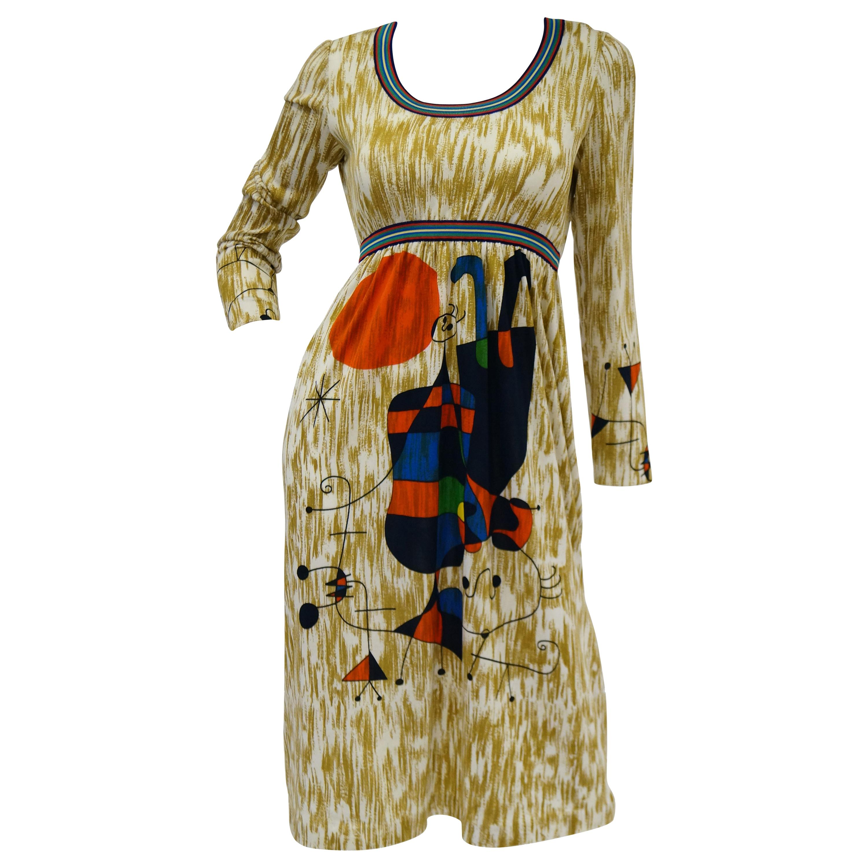 "Rare 1960s Goldworm Italian Knit Dress with Miró ""Upside Down Figures"" Print"