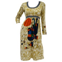 "Rare 1960s Goldworm Italian Knit Dress with Miró ""Upside Down Figures"" Print"