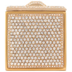 c.1930's Crystal Rhinestone Embellished Brass Square Mirror Compact