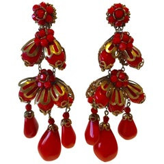 Red Miriam Haskell Statement Earrings