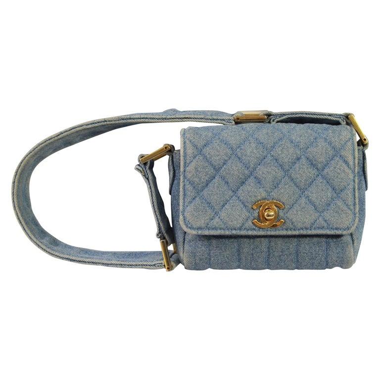 b4f37e8942b5d4 Vintage 1991 Chanel Mini Nano Shoulder Bag in Blue denim at 1stdibs