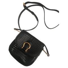 Vintage Louis Vuitton Mini St Cloud Bag in Black Crocodile