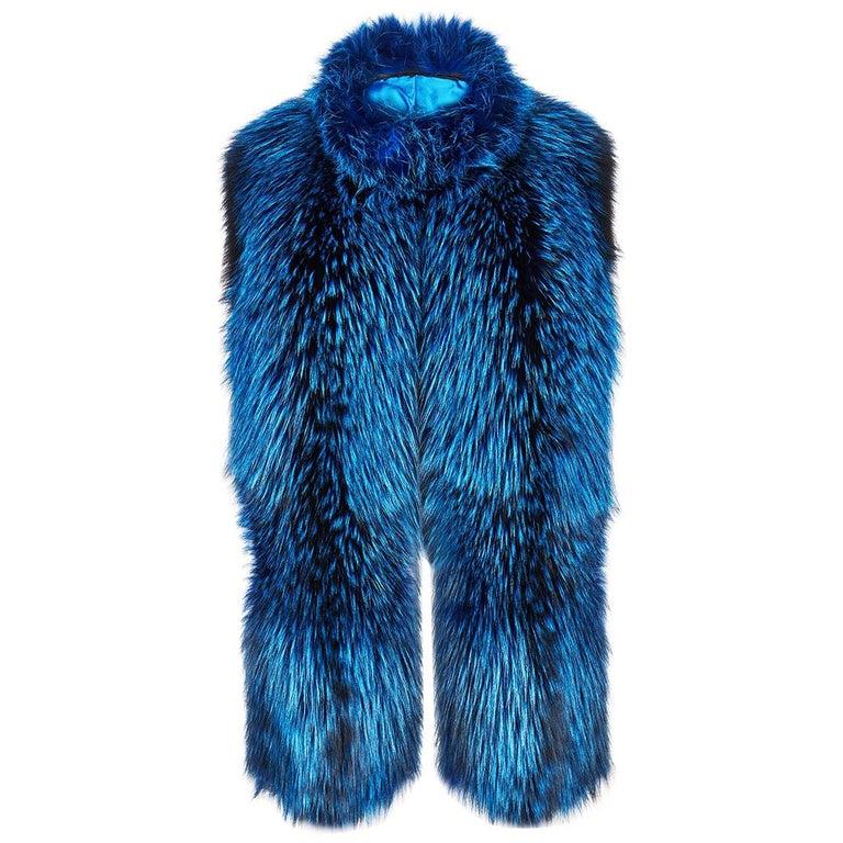 Verheyen London Nehru Collar Stole  in Lapis Blue Fox Fur & Silk Lining For Sale