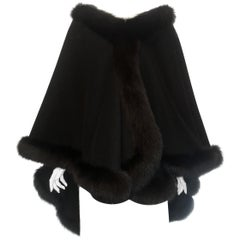 L J Black Wool & Cashmere Fox Fur Trimmed Cape