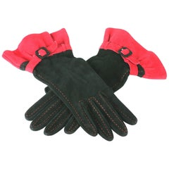 Moschino Suede Ruffled Gloves