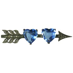 Marcel Boucher Double Heart Pierced Arrow Brooch