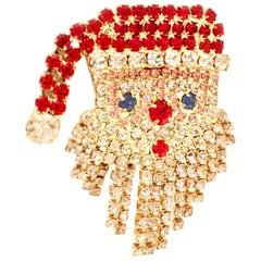 "20th Century Gold & Swarovski Crystal Articulating ""Santa"" Brooch"