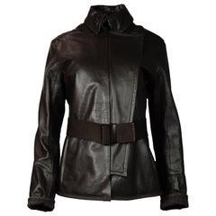 Prada Brown Leather Jacket W/ Collar & Asymmetrical Snap Front Sz 44