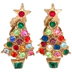20th Century Pair Of Gold & Swarovski Crystal Christmas Tree Earrings