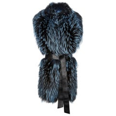 Verheyen London Nehru Collar Stole in Soft Blue Fox Fur & Silk Lining