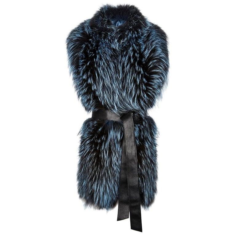 Verheyen London Nehru Collar Stole in Soft Blue Fox Fur & Silk Lining For Sale