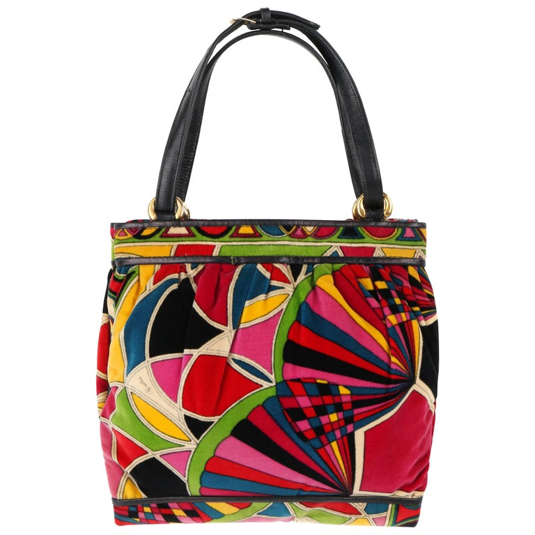 EMILIO PUCCI By Jana c.1960's Stained Glass Signature Print Velvet Purse For Sale