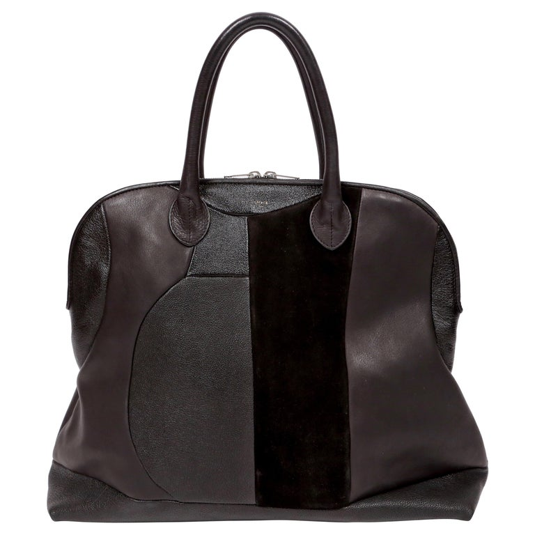 CELINE by PHOEBE PHILO black Leather Patchwork Bowling Duffle Bag   For Sale