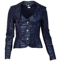 Salvatore Ferragamo Navy Leather Patchwork Stripe Jacket Sz 42