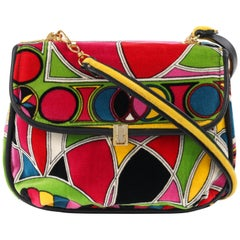 EMILIO PUCCI Jana c.1960's Stained Glass Signature Print Velvet Flap Top Purse