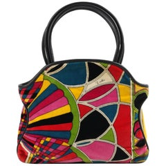 EMILIO PUCCI c.1960's Stained Glass Signature Print Velvet Top Handle Purse