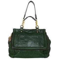 Dolce & Gabbana Green Leather Top Handle Flap Shoulder Bag w/ Medallion