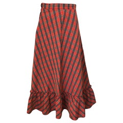 1970s Red Plaid Cotton Voile Ruffled Hem Vintage 70s Maxi Skirt