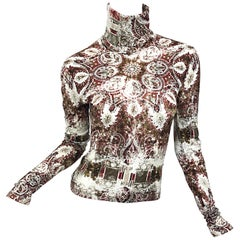Vintage Jean Paul Gaultier 1990s Distressed Medallion Paisley Print Turtleneck