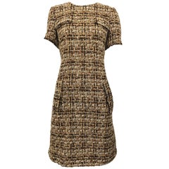 Chic 1960s Brown + Taupe Boucle Woven Short Sleeve Vintage 60s Shift Dress