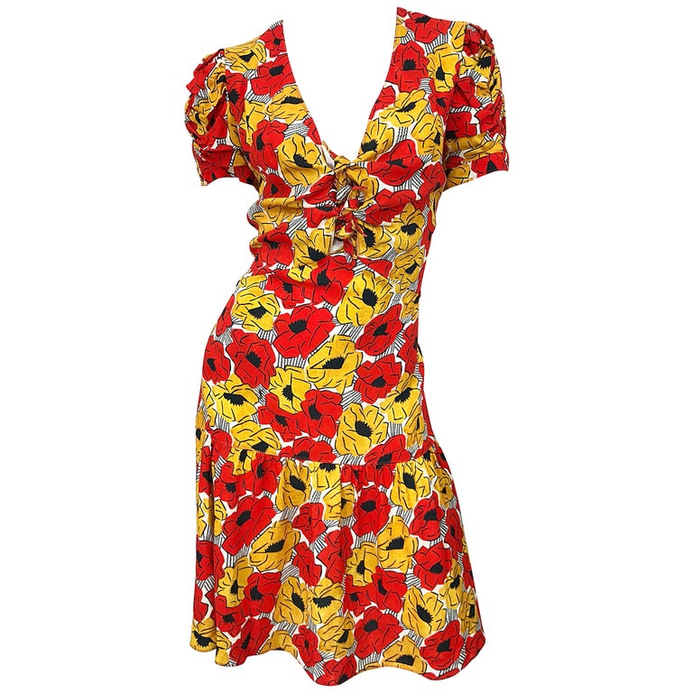 Yves Saint Laurent YSL Size 42 / 10 Yellow + Red Poppy Print Drop Waist Dress For Sale