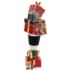 Jay Strongwater Deck the Halls Holiday Present Wine Stopper with Holder