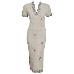 1940's Metallic Creme Wool Knit Beaded Floral-Motif Hourglass Cocktail Dress
