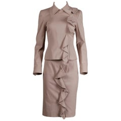 2003 Yves Saint Laurent by Tom Ford Pink Ruffle Jacket + Skirt Suit Ensemble YSL