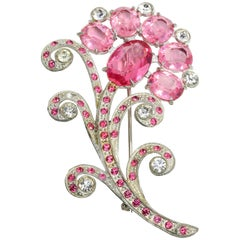 H. Pomerantz Rose and Clear Crystal Silver Flower Pin Brooch, 1930s