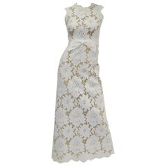 1970s White Large Scale Floral Lace Dress