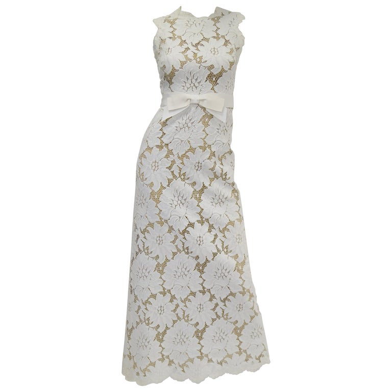 1970s White Large Scale Floral Lace Dress  For Sale