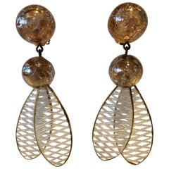 Champagne Lucite Chandelier Statement Earrings by Cilea Paris