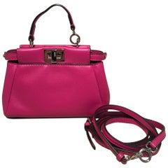 Fendi Micro Mini Fuchsia Pink Peekaboo Bag with Shoulder Strap