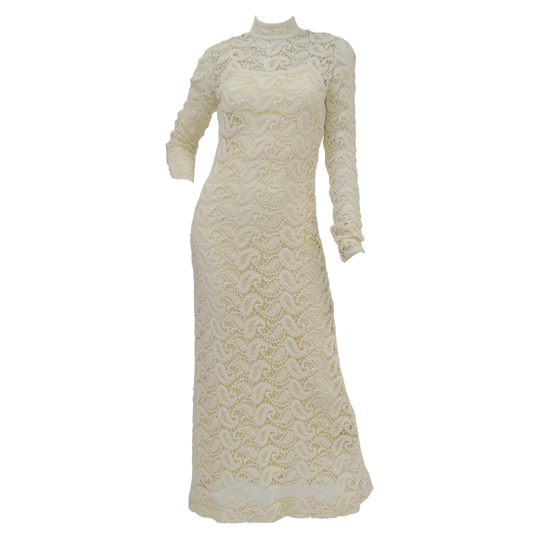 1970s Cream Crochet Paisley Lace Dress